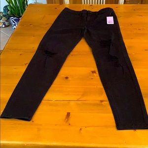 High rise skinny black knee ribbed jeans